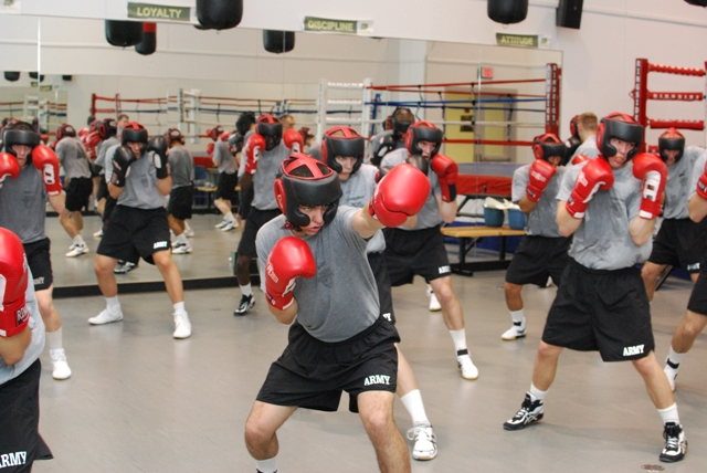 Cadets in boxing class